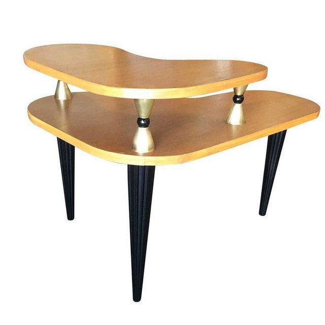 Gilbert Rohde Style Two-Tier Biomorphic Side Table, Pair For Sale - Image 4 of 5