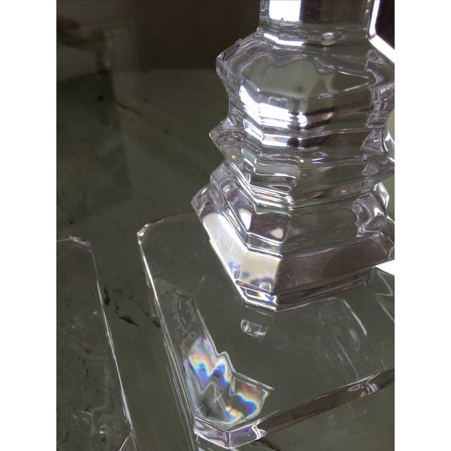 1960s Val St. Lambert Crystal Candlestick Holders For Sale - Image 5 of 6