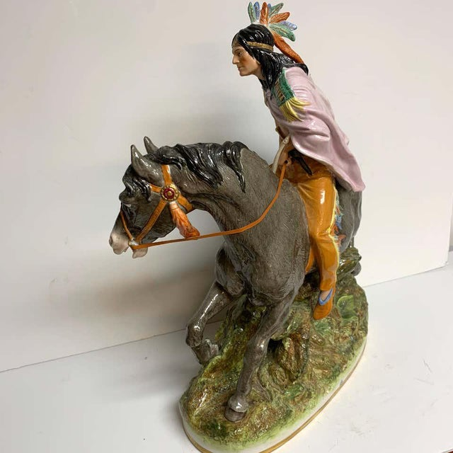 American Indian on Horseback, by Scheibe Alsbach / Volkstedt Porcelain For Sale - Image 4 of 13