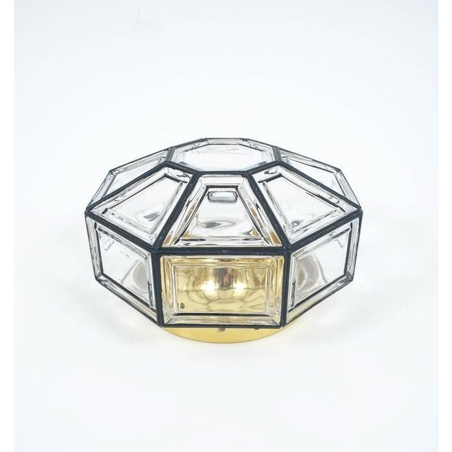 Set of Three Clear Glass Lantern Flush Mounts Lamps by Limburg For Sale - Image 6 of 8