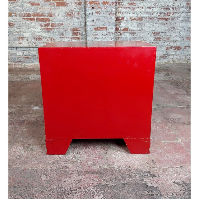 Chinese Beautiful Red Lacquered Commodes - a Pair For Sale - Image 10 of 11
