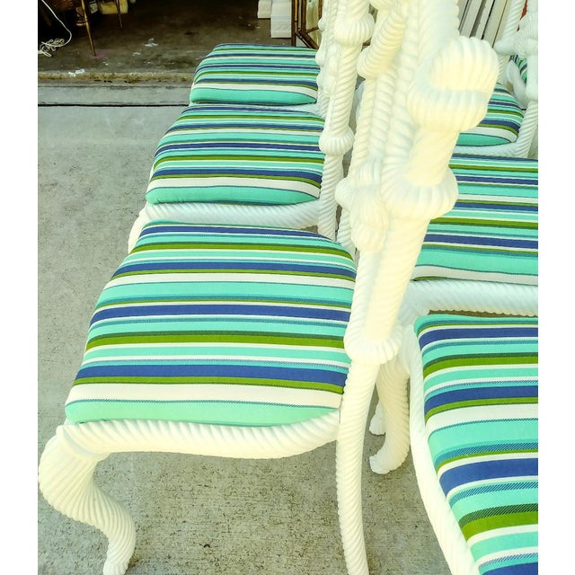 Set of 10 Stunning Gloss White Rope Knot Nautical Coastal Twisted Dining Room Chairs W/Blue Striped Fabric For Sale - Image 4 of 11