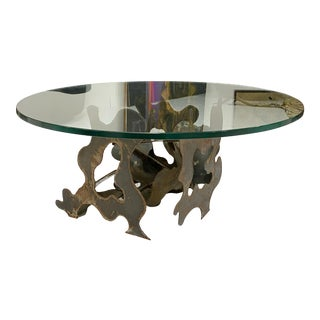 Artist Made Abstract Cut Steel Coffee Table With Glass Top For Sale