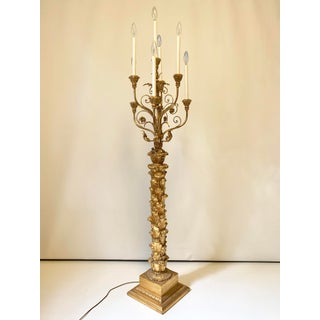 Italian Gilt Wood Six Arm Torchiere Candelabra Floor Lamp Preview