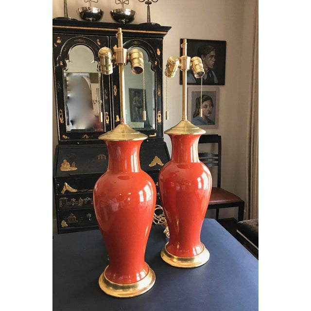 Japanese 1960s Japanese Orange Porcelain Lamps - a Pair For Sale - Image 3 of 13