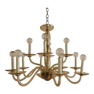 Vintage Murano Glass 12-Arm Chandelier For Sale