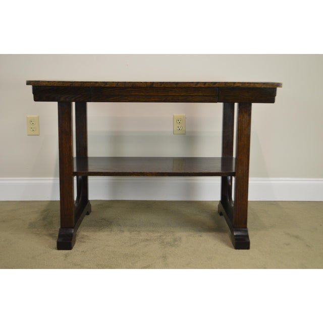 Wood j.k. Rishel Antique Arts & Crafts Mission Oak Library Table Desk No. 811 For Sale - Image 7 of 13