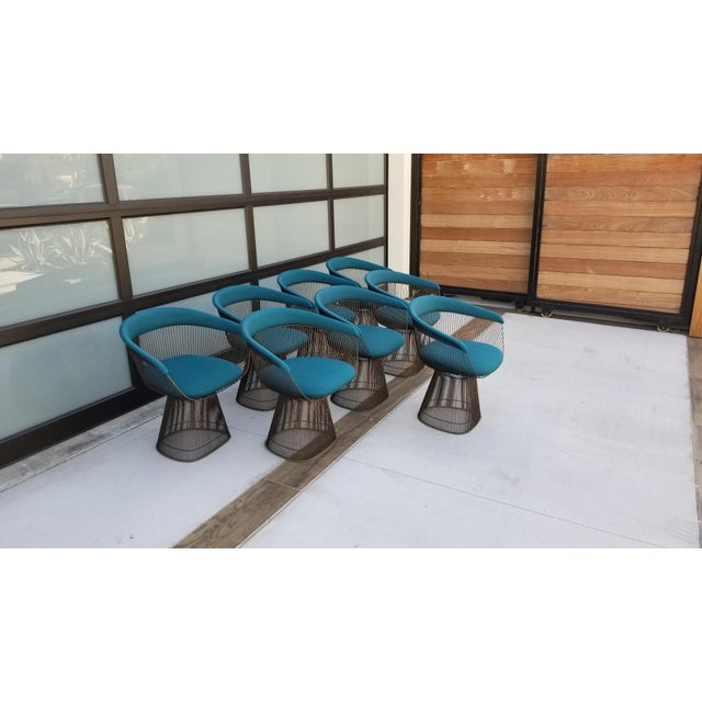 Set of 8 vintage, mid-century, Warren Platner Chairs from Knoll. Rich, teal wool fabric with bronze metal bases.