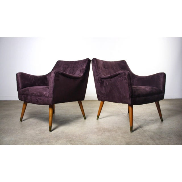 1960s 1960s Mid Century Modern Paul McCobb Purple Upholstered Lounge Chairs - a Pair For Sale - Image 5 of 5