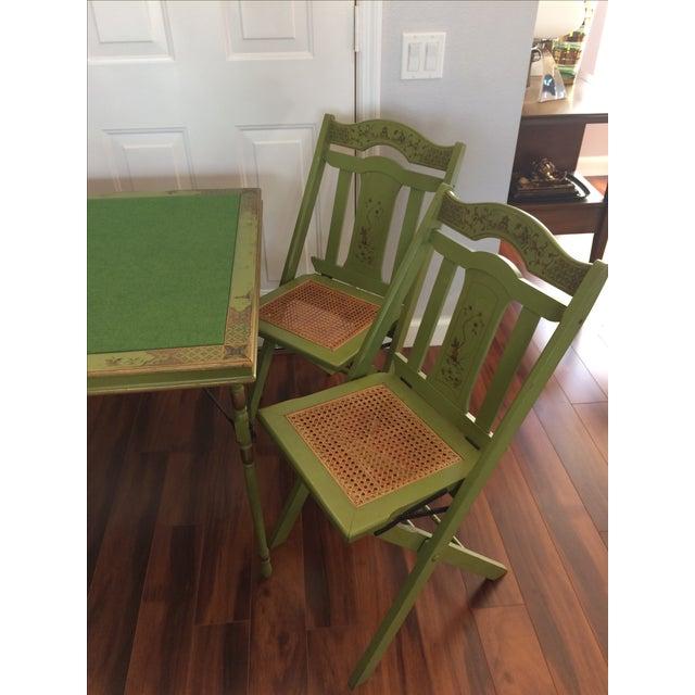Asian Vintage Ferguson Felt Card Table & Chairs For Sale - Image 3 of 8