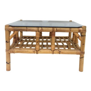 Vintage Boho Modern Bamboo Coffee Table For Sale