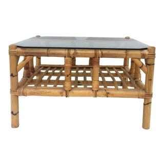 Vintage Boho Modern Bamboo Coffee Table For Sale