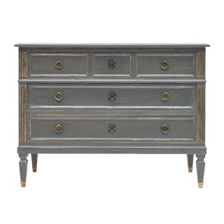 Antique Louis XVI Style Gray Painted Chest For Sale