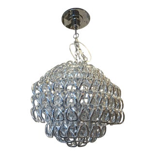 Modern Vistosi Murano Glass Silver Crystal Chandelier For Sale