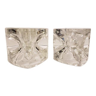 Cube Candlestick 'Ice Cubes' in Glass by Peill & Putzler Candle Holders - a Pair For Sale