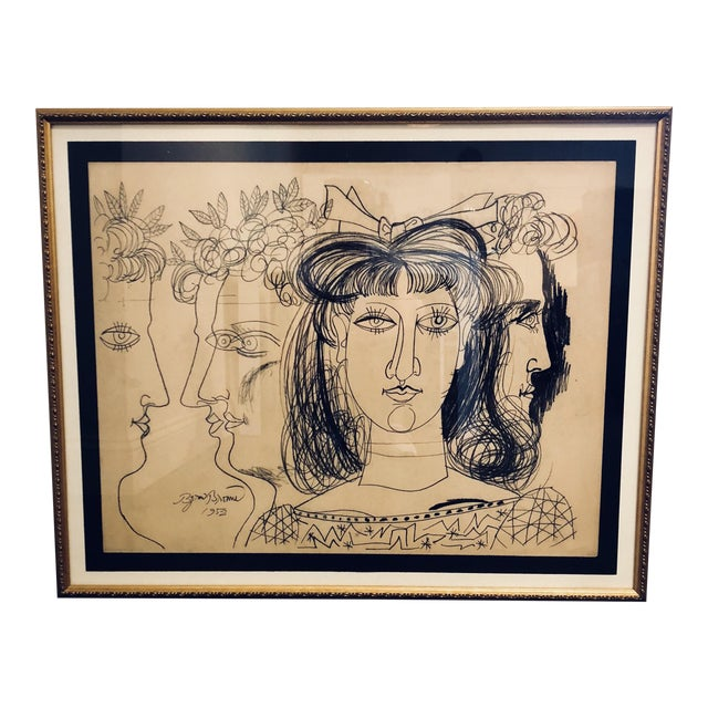1952 Conte Crayon on Paper Expressionist Art For Sale