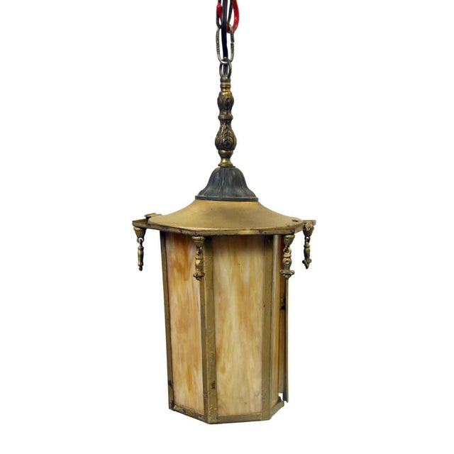 Orange Orange Slag Glass & Brass Lantern For Sale - Image 8 of 8