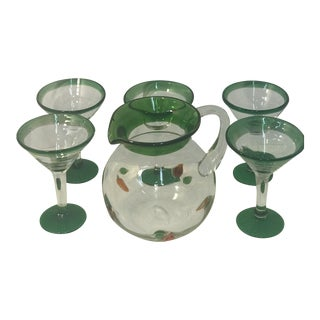 Vintage Hand Blown Green Trim Martini Pitcher and Martini Glasses - Set of 6 For Sale