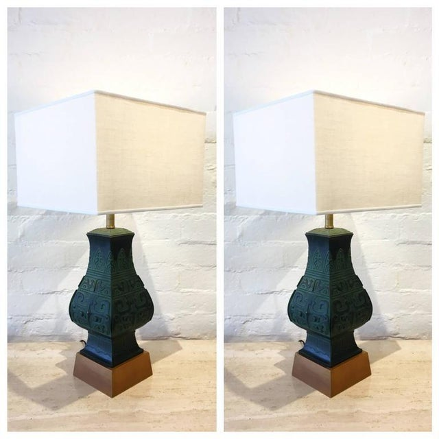 Bronze Table Lamps in the Manner of James Mont - A Pair - Image 9 of 9