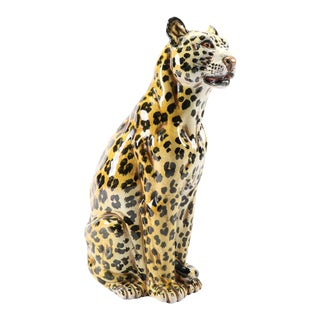 Italian Terracotta Leopard Sculpture For Sale