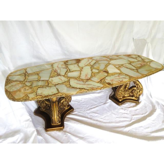 Magnificent Arturo Pani 1950's coffee table (see other posting for matching Side Tables). Hollywood Regency - Resin inlaid...