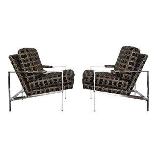 Milo Baughman Chrome Frame Lounge Chairs - a Pair For Sale