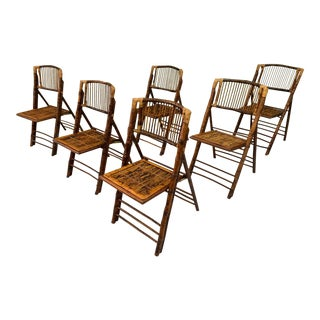 British Colonial Style Folding Bamboo Tiger Wood Safari Chairs - Set of 6 For Sale