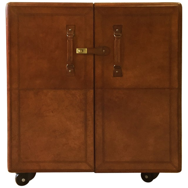 Rectangular Leather Bar Box With Moving Wheels For Sale In Dallas - Image 6 of 6