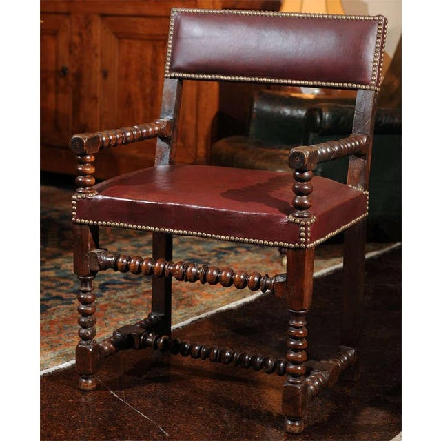 French Bobbin Turned Walnut Armchair with Red Leather Upholstery For Sale - Image 3 of 9
