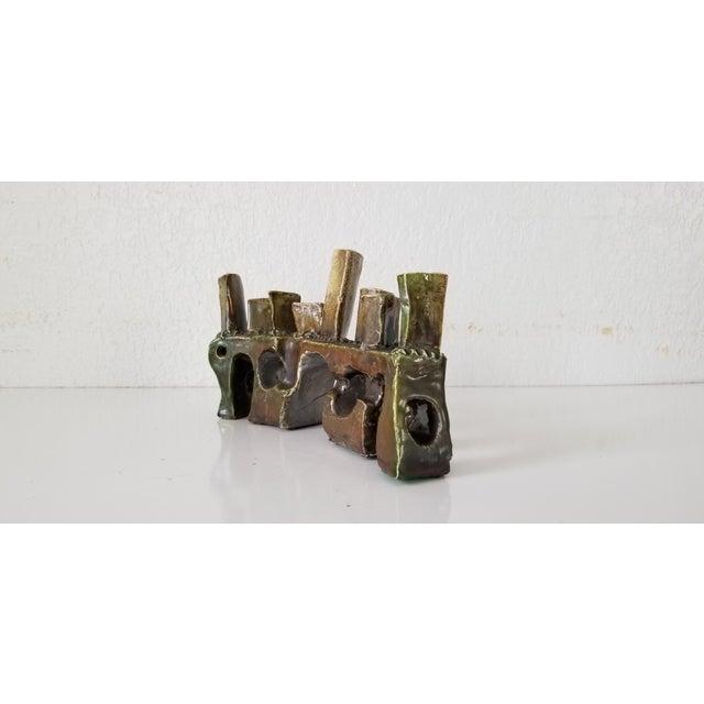 Vintage Sdewitt Brutalist Art Pottery Menorah . For Sale - Image 9 of 12
