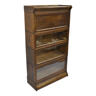 Antique Humphrey Widman 4-Section Tiger Oak Barrister Bookcase