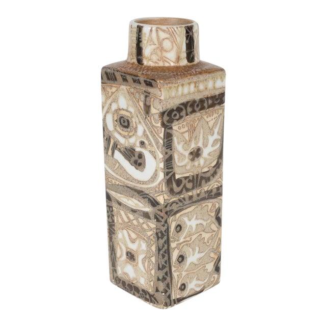 Mid-Century Modernist Ceramic Danish Vase with Geometric Designs, Nils Thorsson For Sale