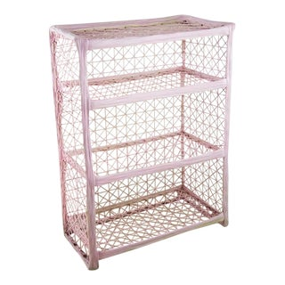 1960s Vintage Mid Century Decorative Light Pink Faux Wicker Three Shelf Display and Bookcase For Sale
