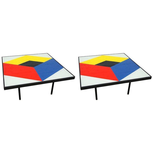 Metal Reverse Painted Glass Coffee Tables - a Pair For Sale - Image 7 of 7