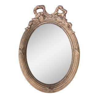 Gilt Plaster Swag Bow Oval Mirror For Sale