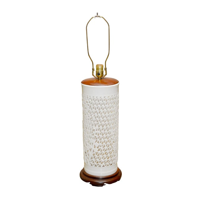 Blanc De Chine Reticulated Porcelain Table Lamp - Image 1 of 7