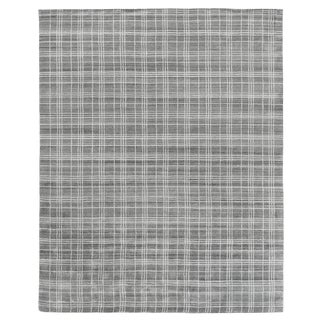 "Cambridge Hand loom Bamboo/Silk Silver/White Rug-6'x9"" For Sale"