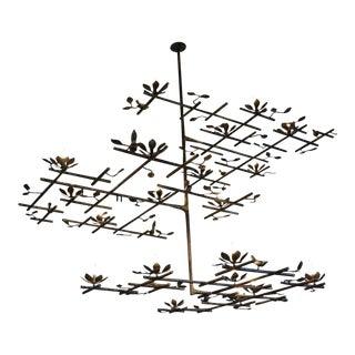 3 Layer Garden Plaster Chandelier With Dark Bronze Finish For Sale