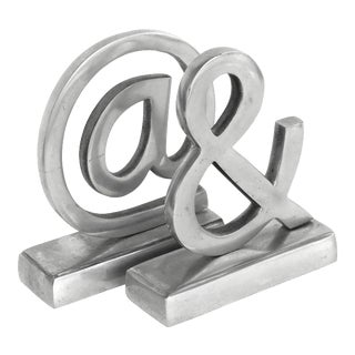 """Vintage Pewter Ampersand """"&"""" Sign / at Symbol """"@"""" Bookends-A Pair For Sale"""