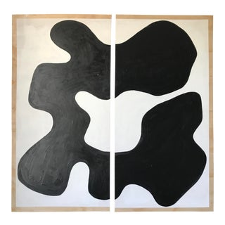 Abstract Magnolia Monochrome Diptych Oversized Paintings - 2 Pc. For Sale
