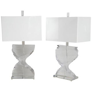 Spiral Lucite Lamps - A Pair For Sale