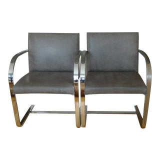 C. 1970 Brueton Gray Leather Upholstered Stainless Steel Frame Chairs - a Pair For Sale