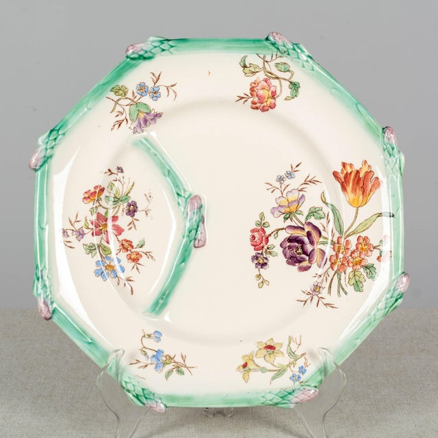 Asparagus Longchamp French Majolica Asparagus Plates and Serving Set For Sale - Image 8 of 13