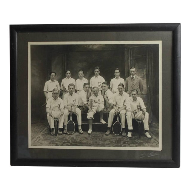 Early 20th C. Antique Photo of the Junior Tennis Players For Sale
