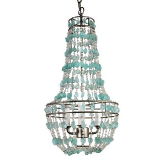 Arteriors Aqua Faux Rock Crystal Chandelier For Sale