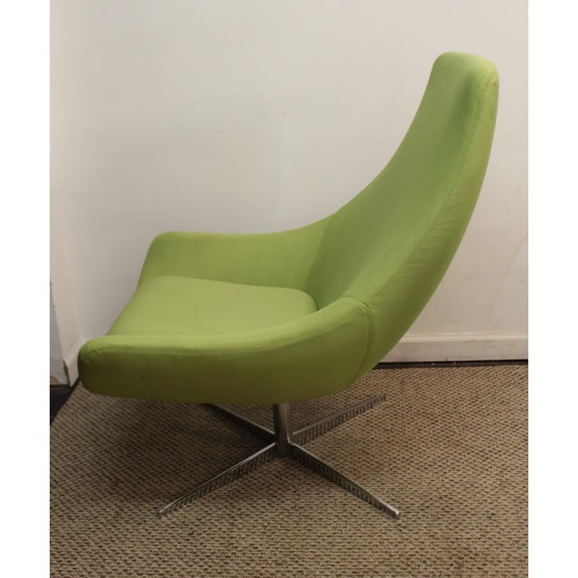 Mid-Century Lime Green Swivel Lounge Chair & Ottoman - Image 7 of 11