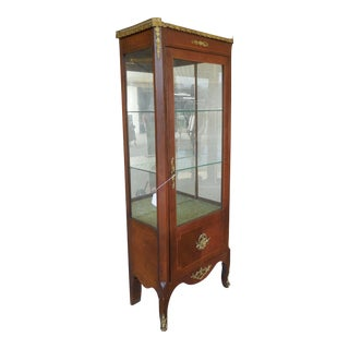 "Vintage French Louis XV Style Lighted Curio Cabinet 24""w X 65""h For Sale"