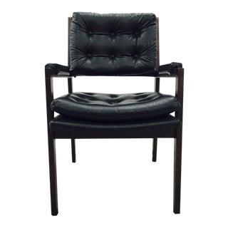 Vintage Milo Baughman Style Black Wood Desk Chair