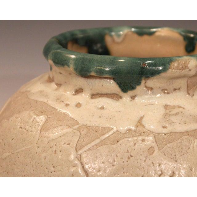 Cream Vintage Awaji Pottery Large Japanese Jar Dripped and Splashed Glaze Vase For Sale - Image 8 of 9