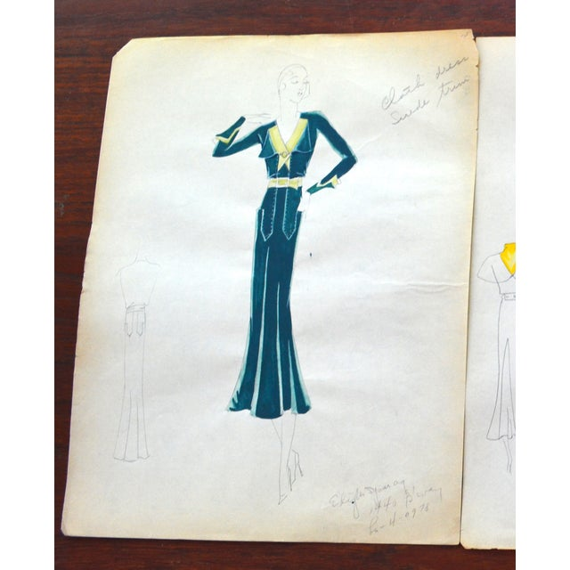 Edith Sparag 1930s Blue Dress Fashion Sketch - Image 2 of 5